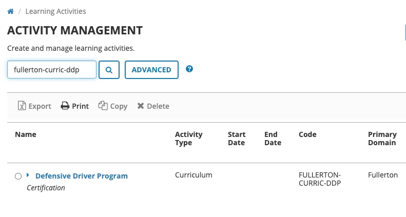Activity management overview page