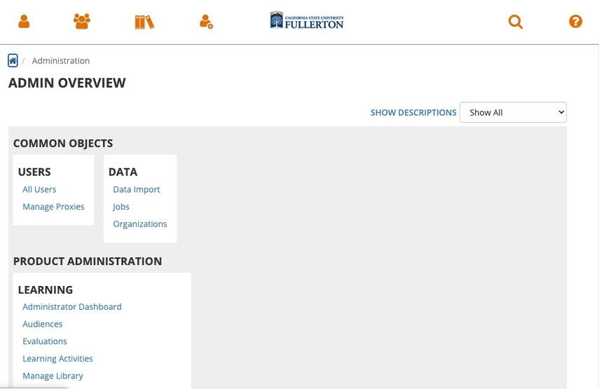 Skillsoft domain Admin Overview