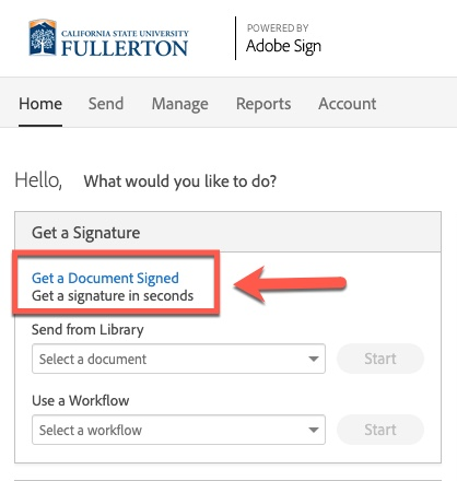 Arrow pointing to Get a Document Signed link