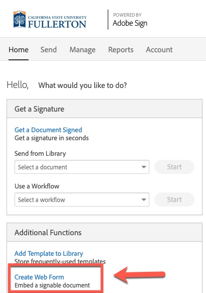 Arrow pointing to Create Web Form link