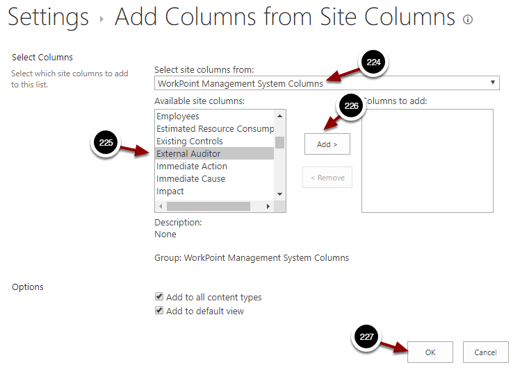 Add Columns from Site Columns - Google Chrome