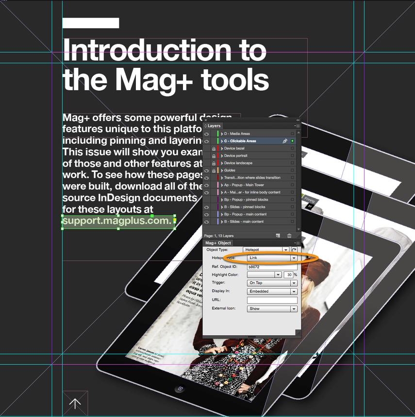 """In the Mag+ Object Panel, make sure Hotspot Type is set to """"Link."""""""