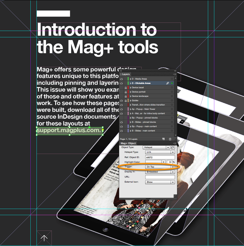 (Optional) In the Mag+ Object Panel, you can set a Trigger action for when the Link will be activated.