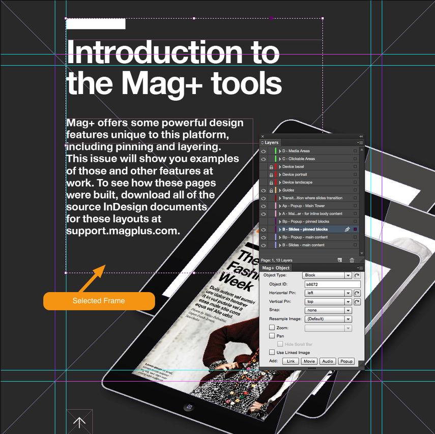 Select a frame in your Mag+ layout which will be tapped in order to show the Web Link.