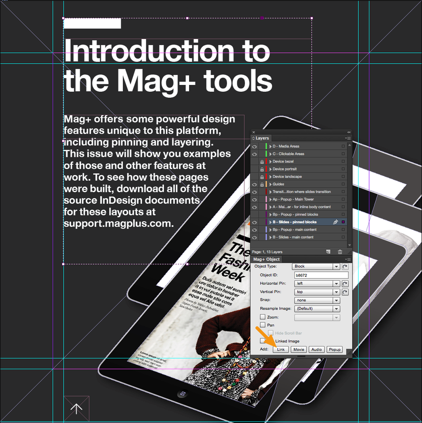 """In the Mag+ Object Panel, click on the """"Link"""" button next to the """"Add"""" label."""