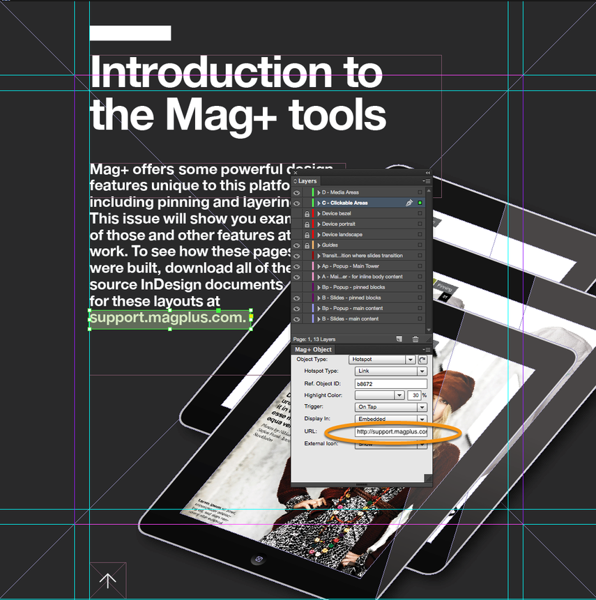 In the Mag+ Object Panel, enter the URL to visit when the user taps on the Hotspot area.