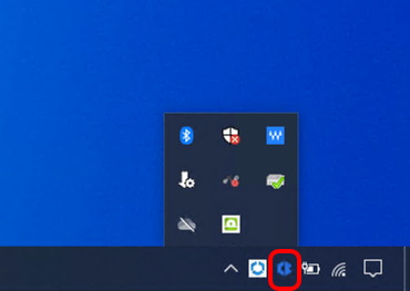 Locate carbon black cloud sensor on Windows task bar