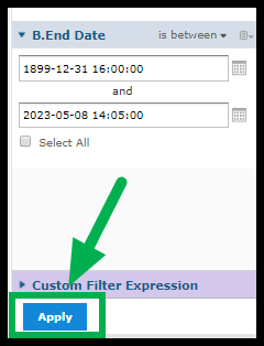 Arrow pointing to apply button for end date filter