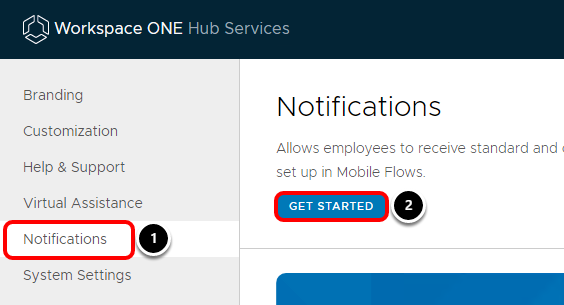Activate Workspace ONE Notifications in Workspace ONE Hub Services console