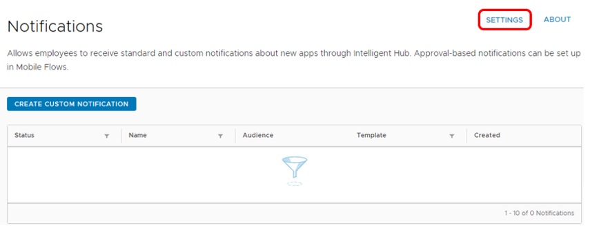 Review Workspace ONE Notifications settings in Workspace ONE Hub Services