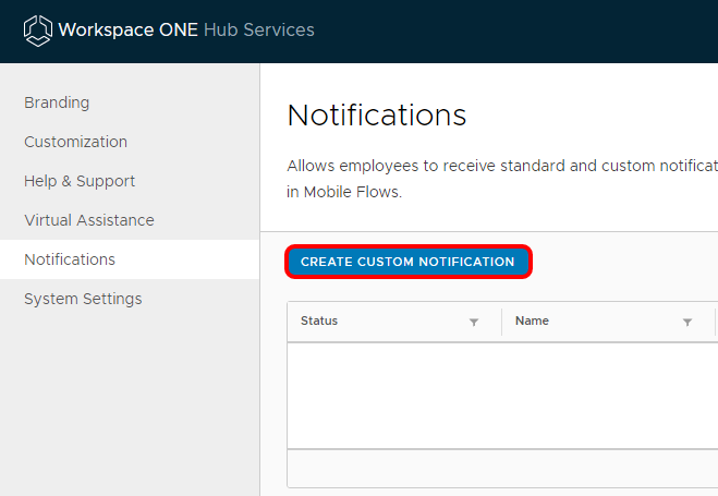 Create custom Workspace ONE notifications in Workspace ONE Hub Services