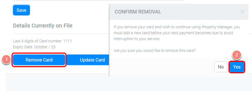 Removing the Card On File