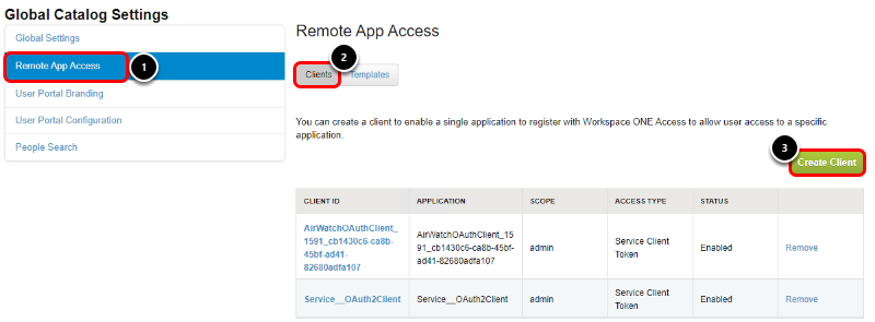 Create OAuth client in Workspace ONE Access admin console