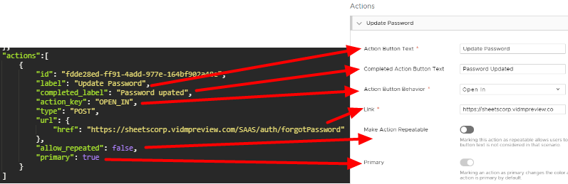 Compare REST API actions to actions in Workspace ONE Hub Services Notifications page