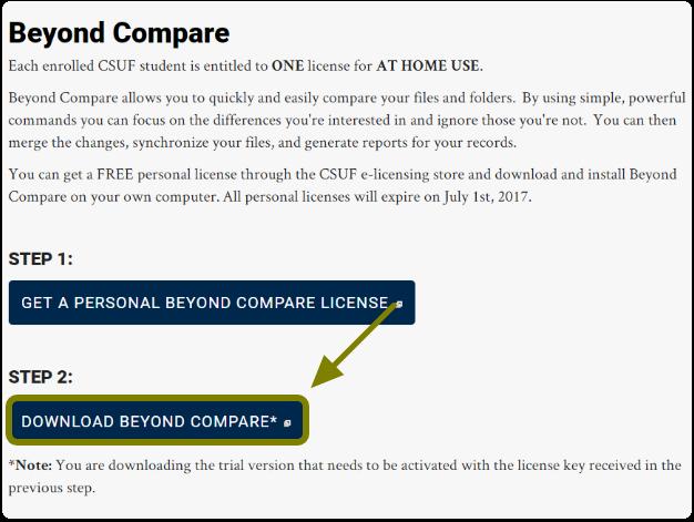 CSUF Beyond Compare website