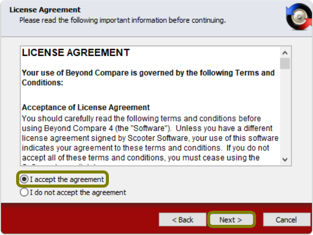 accept end user license agreement