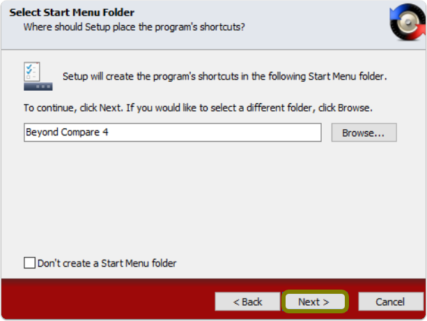 start menu shortcut