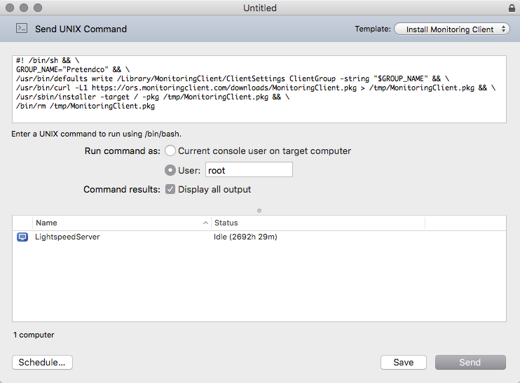 Send a command via Apple Remote Desktop