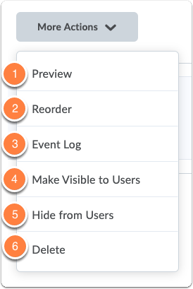 Assignments homepage - More Actions button
