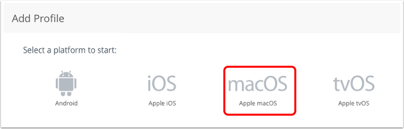 Select macOS profile in Workspace ONE UEM admin console