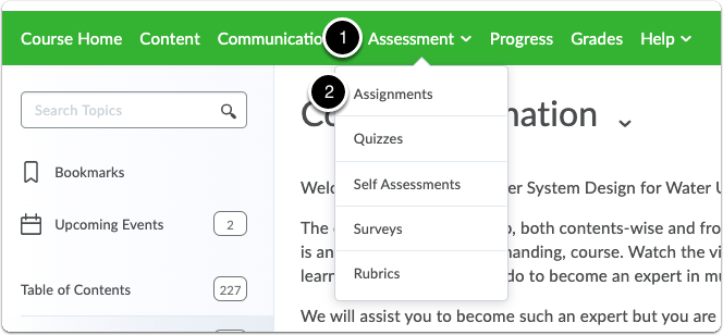 Click on Assessment tab, then select Assignments