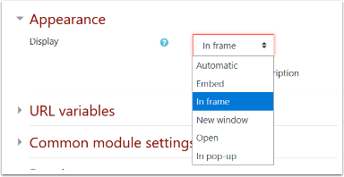 Appearance section of URL settings page