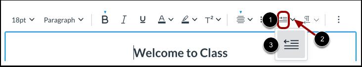 Diminuer l'indentation / Augmenter l'indentation du texte