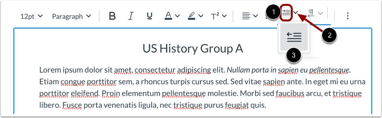Indent and Outdent Text