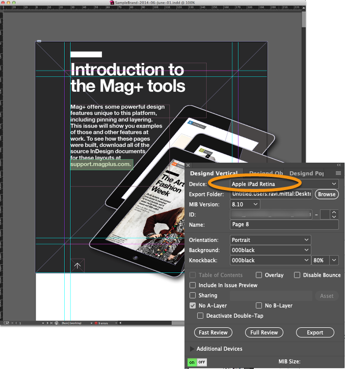 Open the InDesign document that you will use to export to other devices.