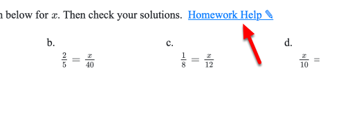 Every homework problem has a link to the Homework Help for that problem.