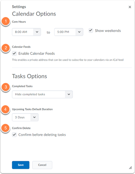 Calendar settings options