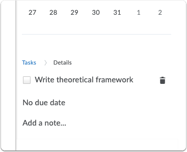 Tasks - add due date and note to task
