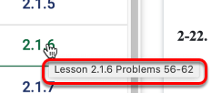 Hover over any of the lesson tabs to find problem numbers.