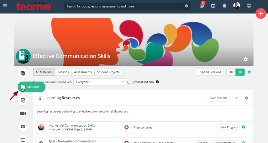 Materials | Effective Communication Skills | Teamie Next