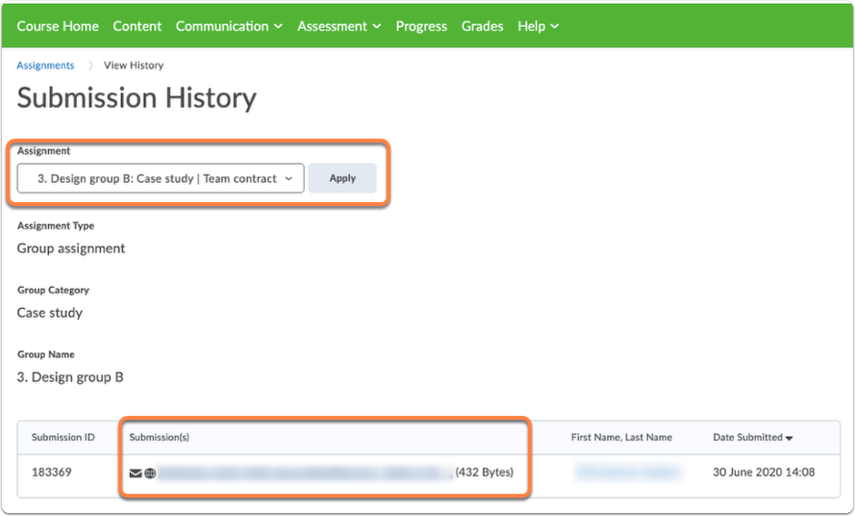 Assignments - View history page