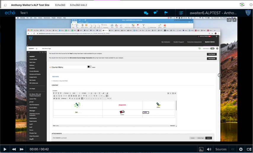 Image of the Echo360 portal in Blackboard.