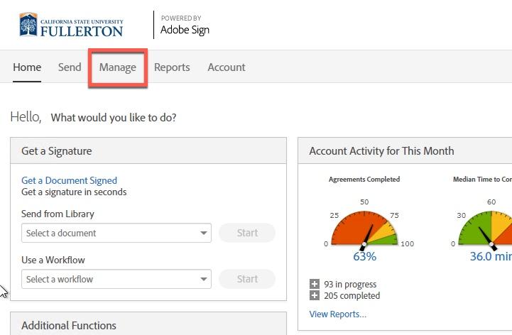 Box highlighting Manage tab
