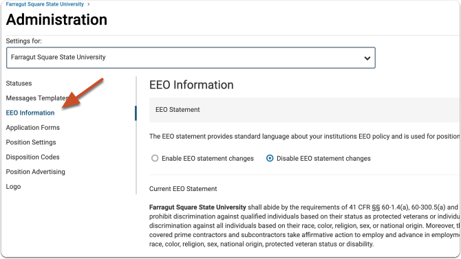 "Open the ""EEO Information"" tab"