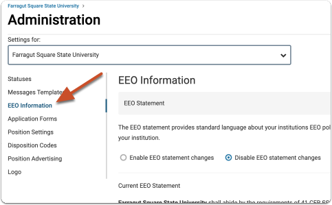 "From the Administration page, open the EEO Information tabur Faculty Search dashboard, and select ""Administration"" from the dropdown menu"