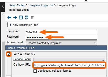 Enter Integration Login details