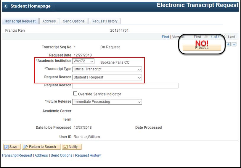 Transcript Request tab