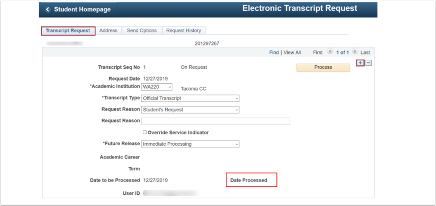 Navigate back to Transcript Request tab to add an additional row for multiple requests
