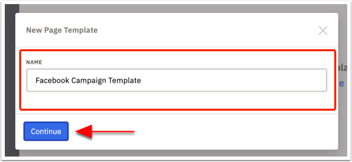 Page name template modal