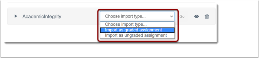 import type is selected