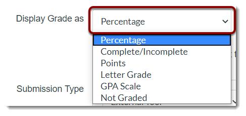 Display Grade as dropdown is selected.