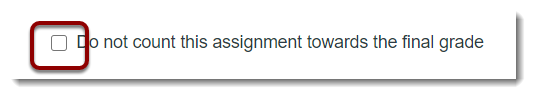 Checkbox for not counting toward course total