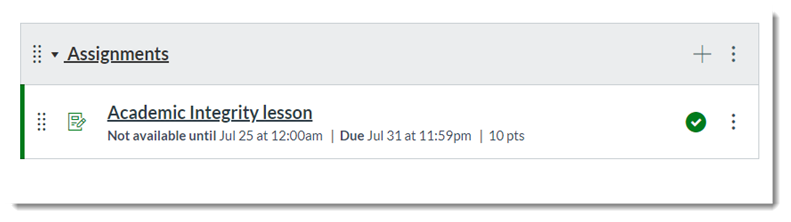 Assignments page showing this new SCORM assignment.