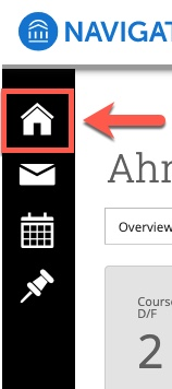 Arrow pointing to Home icon
