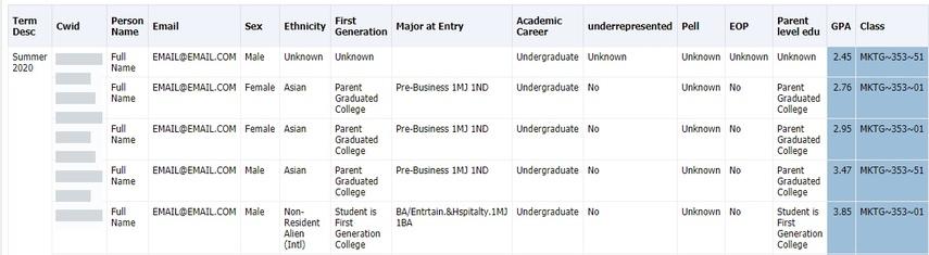 Student Information spreadsheet