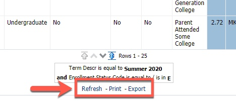 Refresh, Print and Export links
